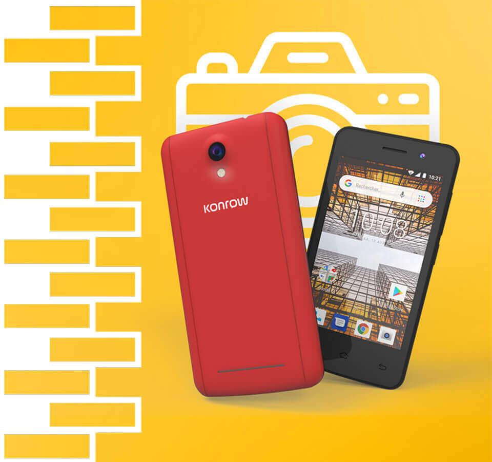 Smartphone city rouge, capteur avant 2 mégapixels