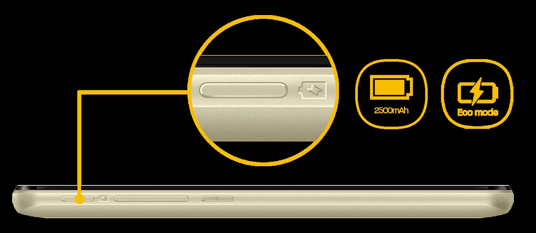 Smartphone city55 or batterie de 2500 mAh et boutton eco mode
